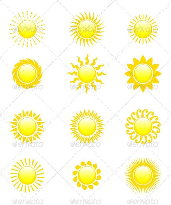 Sun Icon Set  - Decorative Symbols Decorative