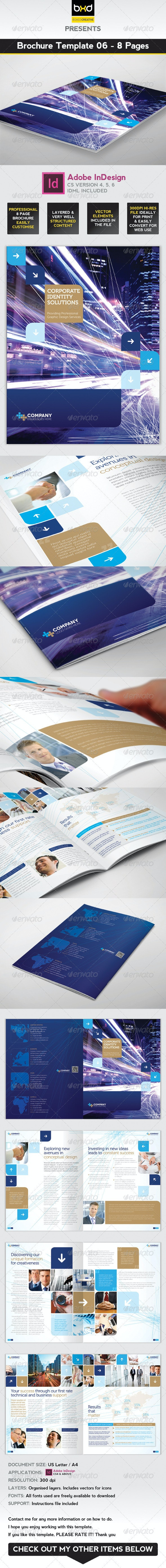 Brochure Template - InDesign 8 Page Layout 06 - Corporate Brochures