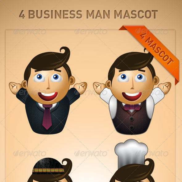 4 Business Man Mascot