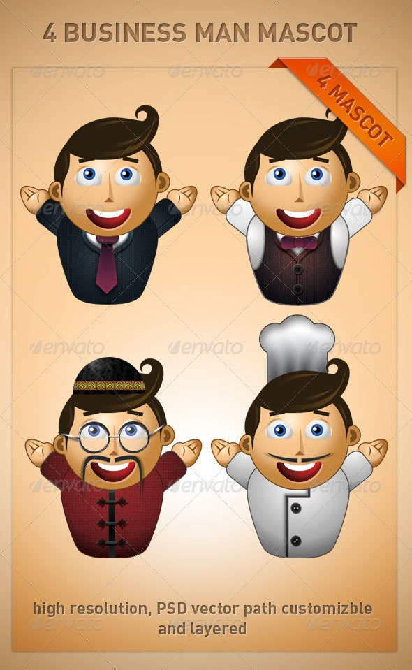 4 Business Man Mascot - Illustrations Graphics
