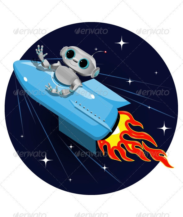 Robot on the Space Rocket - Retro Technology