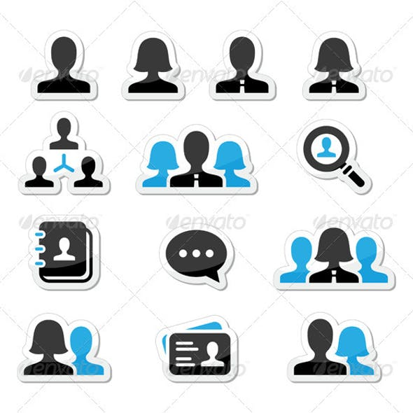 Businessman and Woman User Vector Icons Set