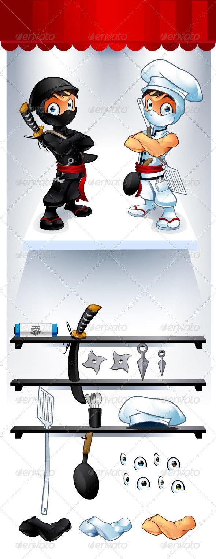 Ninja and Chef Customizable - People Characters