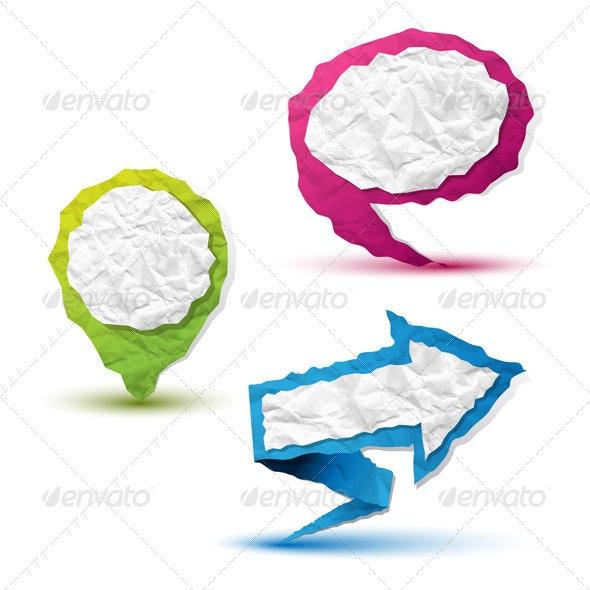 Crumpled Paper Pointers - Decorative Symbols Decorative