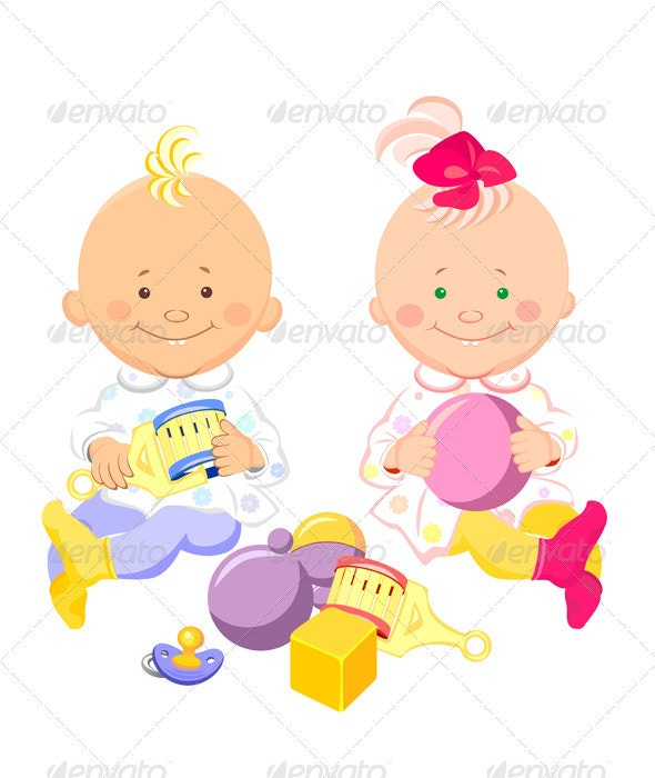 Vector of the kids play with toys - People Characters