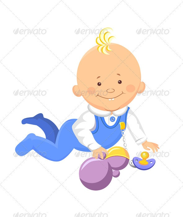 Vector baby learns to crawl - People Characters
