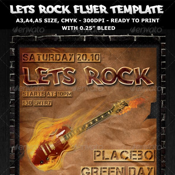 Rock Party-Concert Flyer-Poster Template