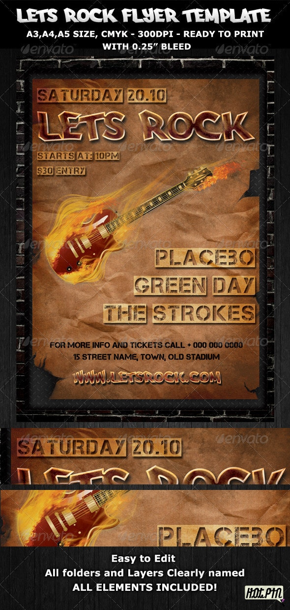 Rock Party-Concert Flyer-Poster Template - Concerts Events