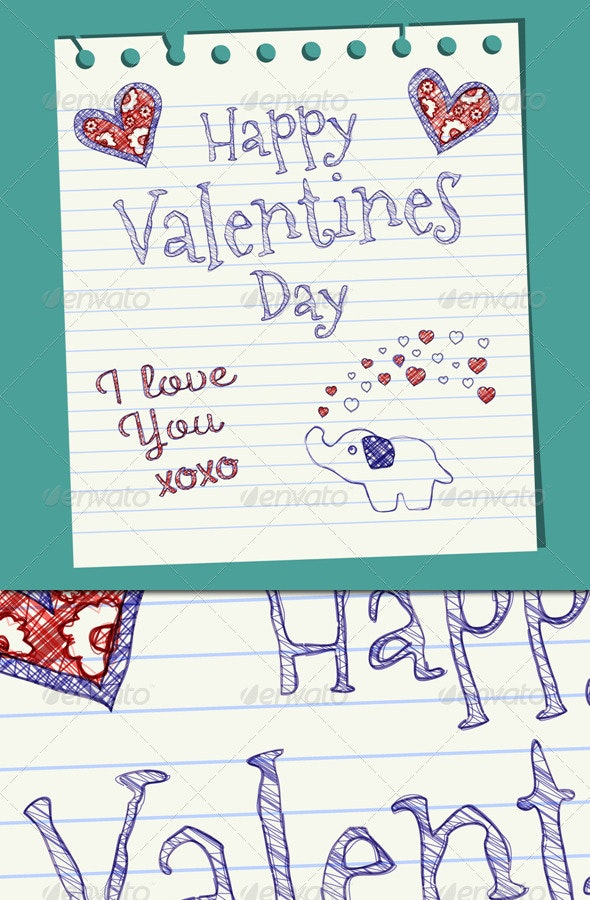 Happy Valentines Day Doodle On Notepaper - Valentines Seasons/Holidays