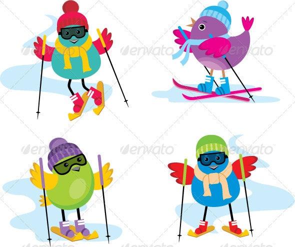 Skiing Birds - Sports/Activity Conceptual