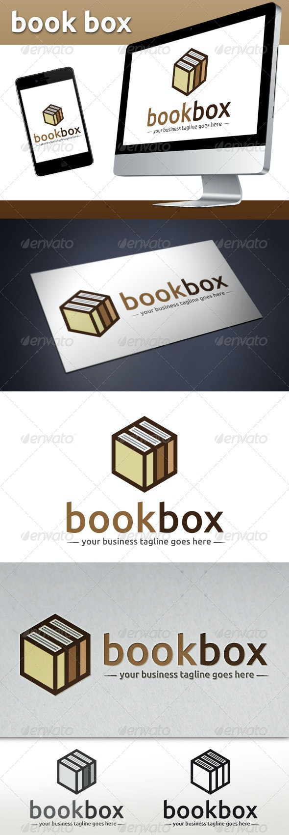 Book Store Logo Template (Book Cube) - Objects Logo Templates