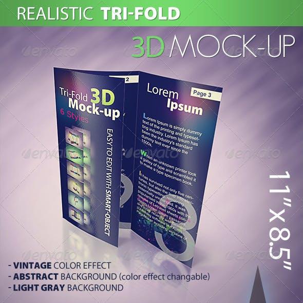 Tri-fold 3D Mock-up Pack