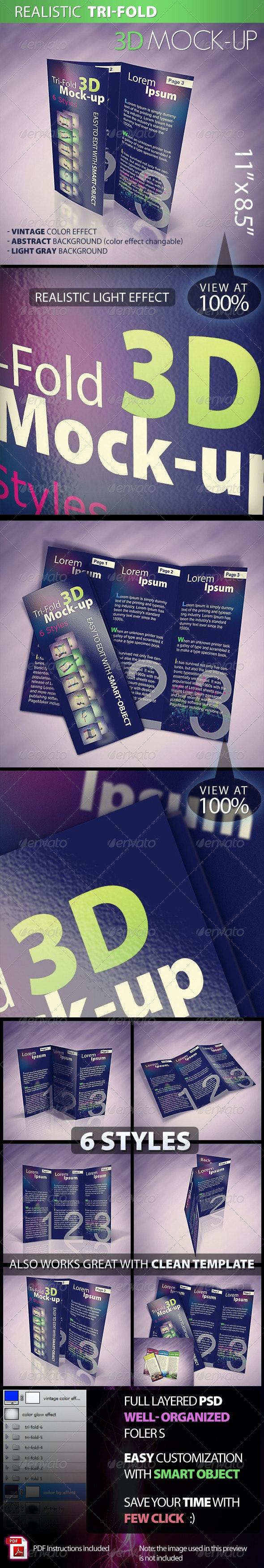 Tri-fold 3D Mock-up Pack - Brochures Print