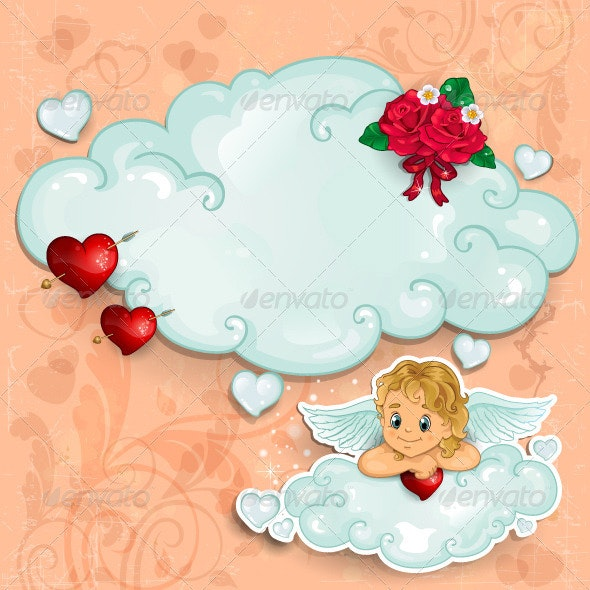 Cupid and Heart and Red Roses - Valentines Seasons/Holidays