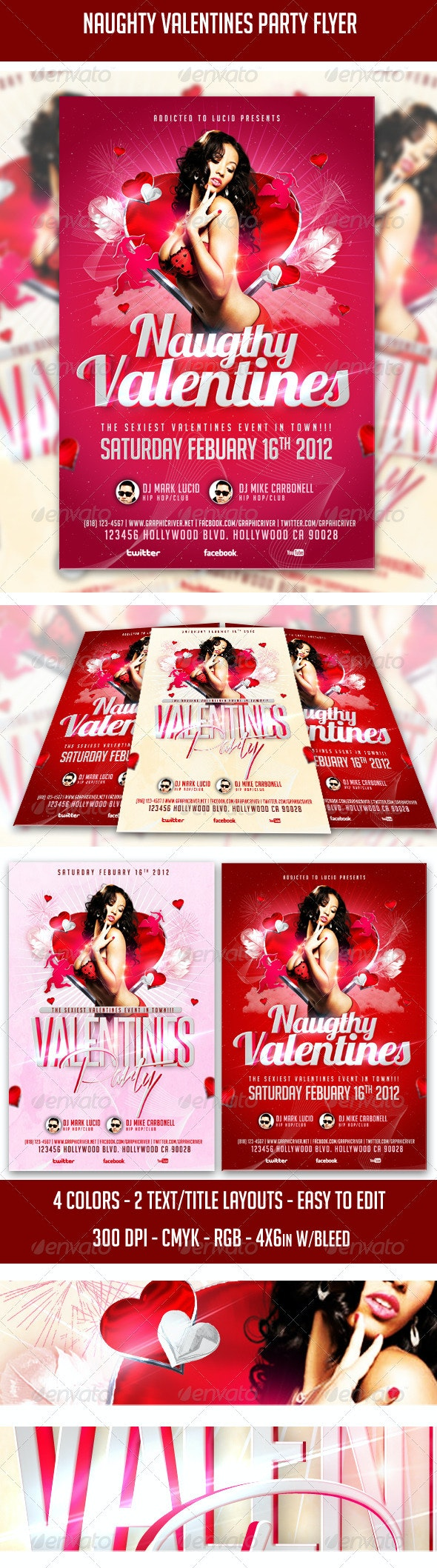Naughty Valentines Party Flyer - Clubs & Parties Events