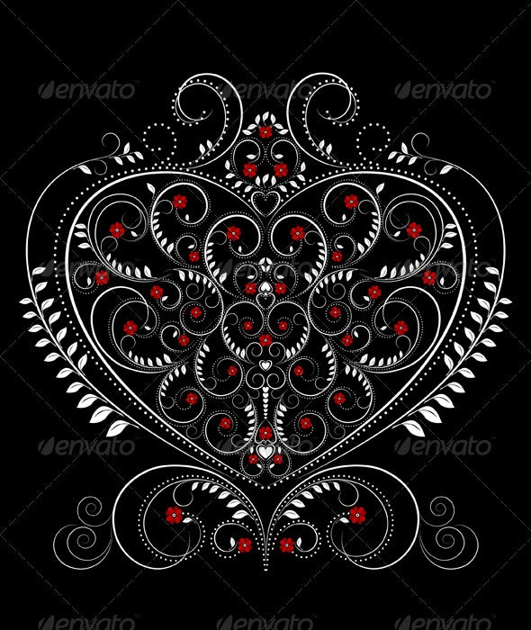 White Openwork Pattern in the Form of Heart - Decorative Symbols Decorative