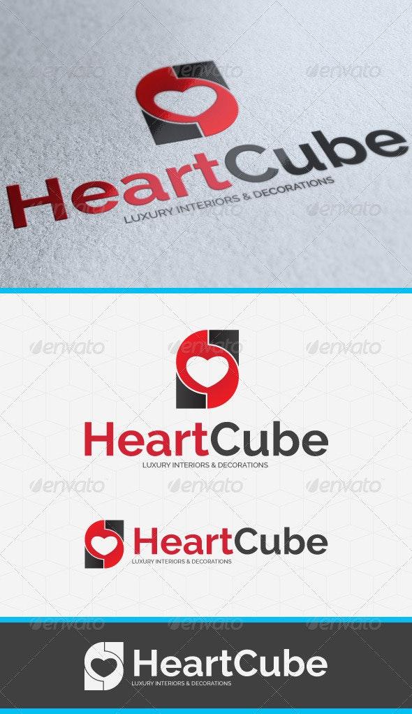 Heart Cube Logo Template - Vector Abstract