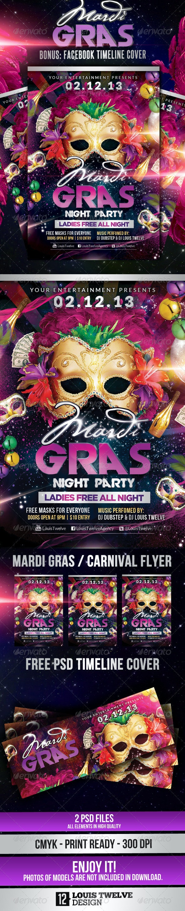 Mardi Gras / Carnival Party | Flyer + Fb Cover - Clubs & Parties Events