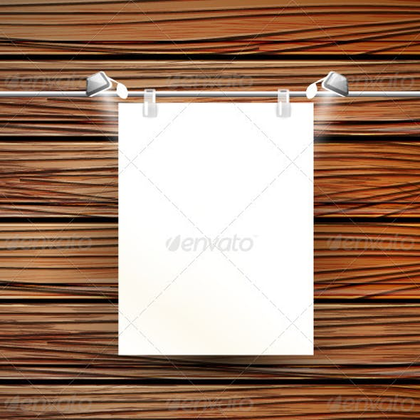 Vector Picture Frame on Wooden Wall