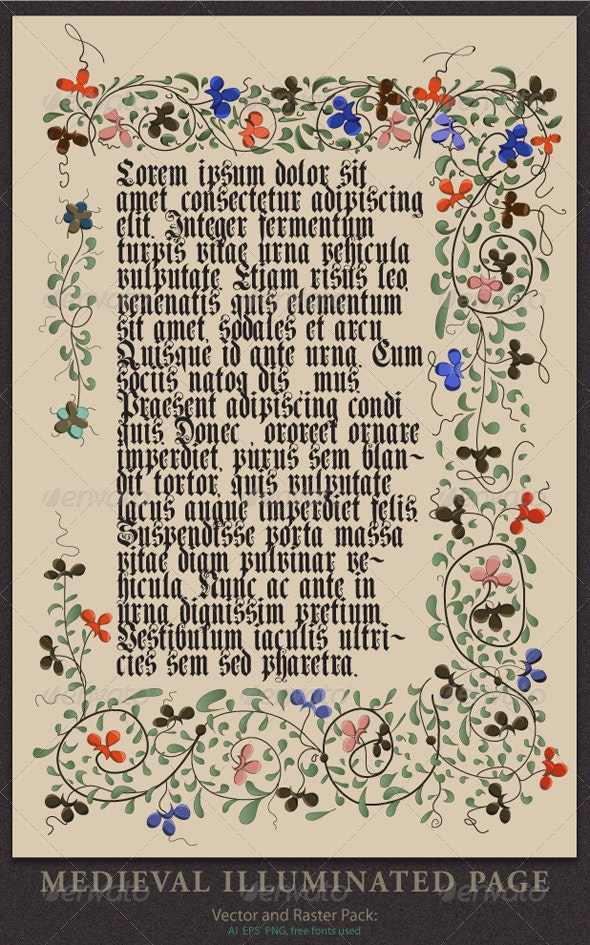 Medieval Illuminated Page - Backgrounds Decorative