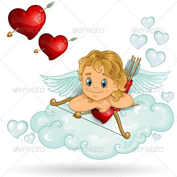 Cupid and heart clouds