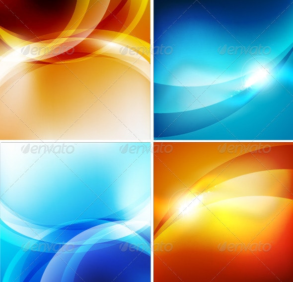 Glossy Colorful Vector Waves - Backgrounds Decorative