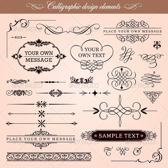 Vector Calligraphic Design Elements And Frames