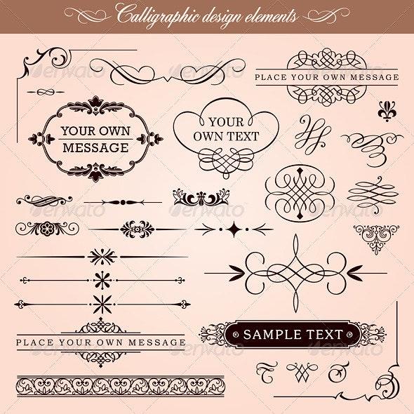 Vector Calligraphic Design Elements And Frames - Borders Decorative