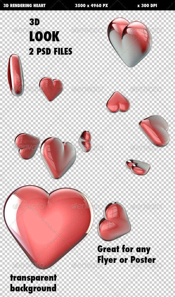 Flying 3D Hearts - Objects 3D Renders