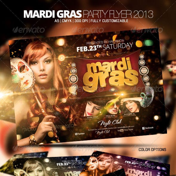Mardi Gras Party Flyer 2013