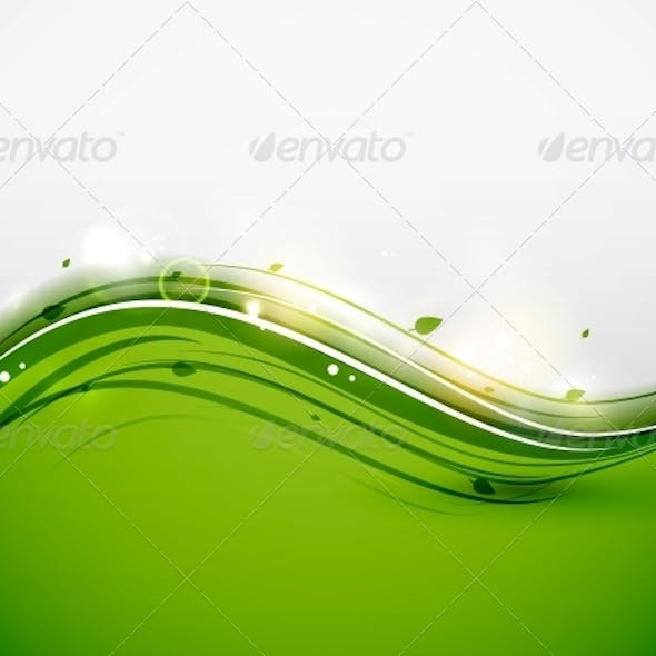 Green Floral Wave Abstract Background
