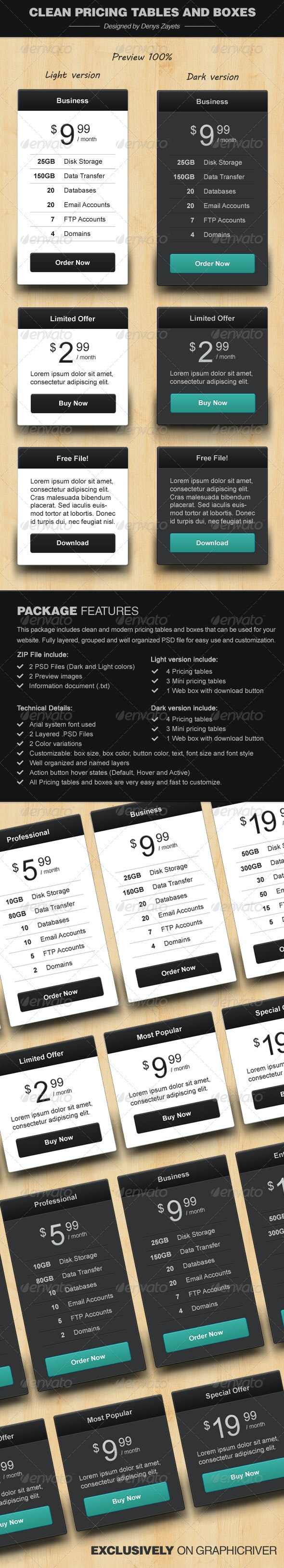 Clean Pricing Tables and Boxes