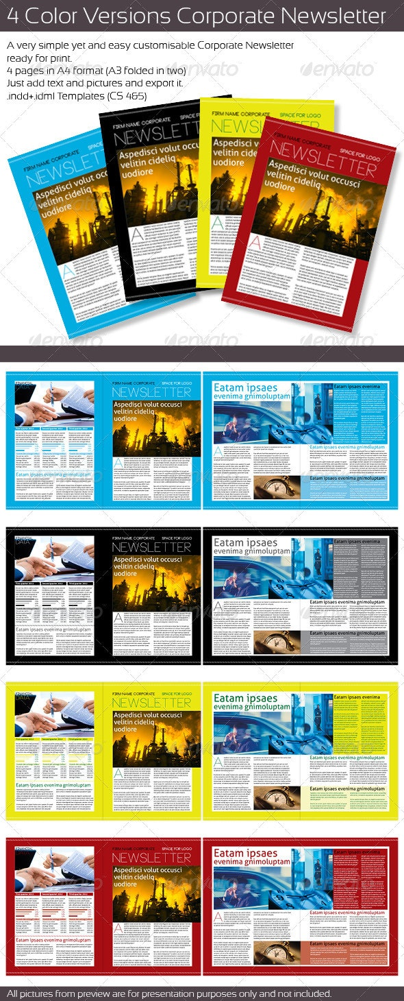 4 Color Version Corporate Newsletter - Newsletters Print Templates