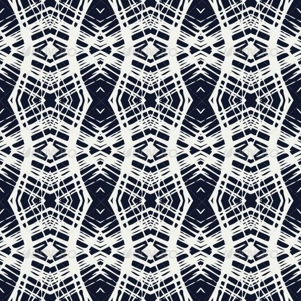White Lace on Navy Blue Geometrical Pattern - Patterns Decorative