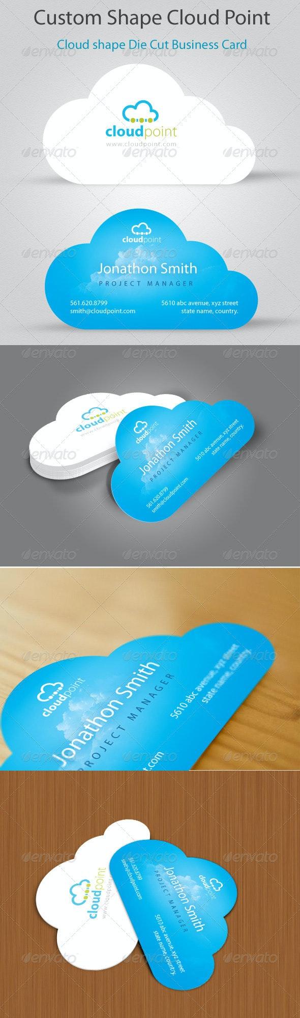 Cloud Point Custom Shape Die cut Business Card - Creative Business Cards