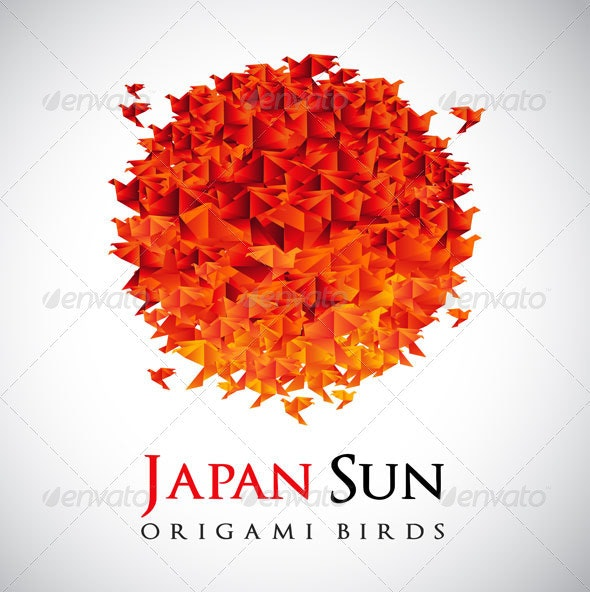 Origami - Japan Flag Red Sun - Abstract Conceptual