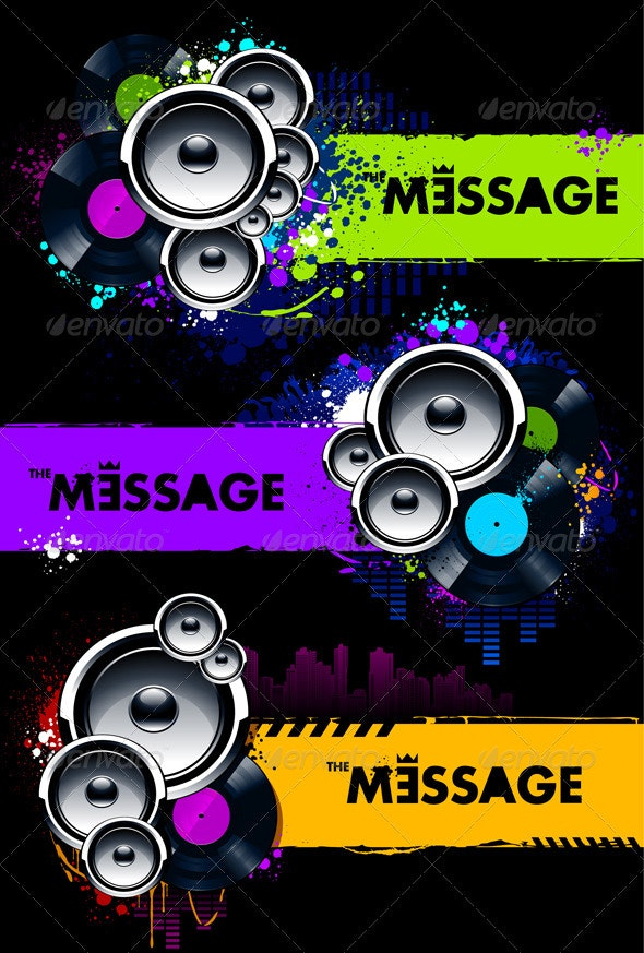 Vector set of grungy musical banners - Vectors