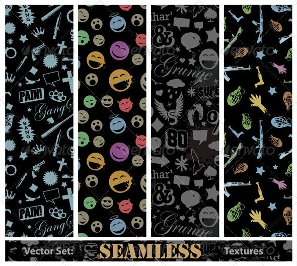 Vector set of stylish seamless textures - Vectors