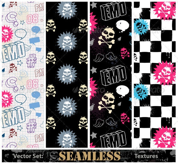 Vector set of stylish emo seamless textures - Vectors