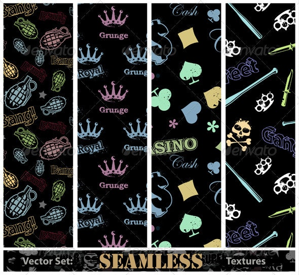 Vector set of stylish seamless textures - Vectors