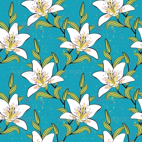 white lilies, romantic, summer pattern - Patterns Decorative