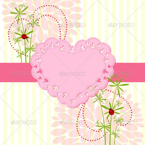 Springtime Love Card with Flower - Decorative Vectors