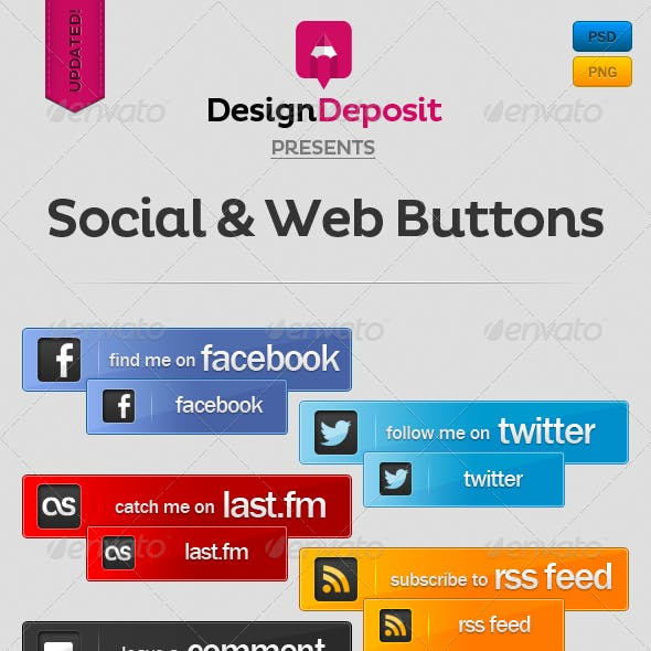Social and Web Buttons Pack