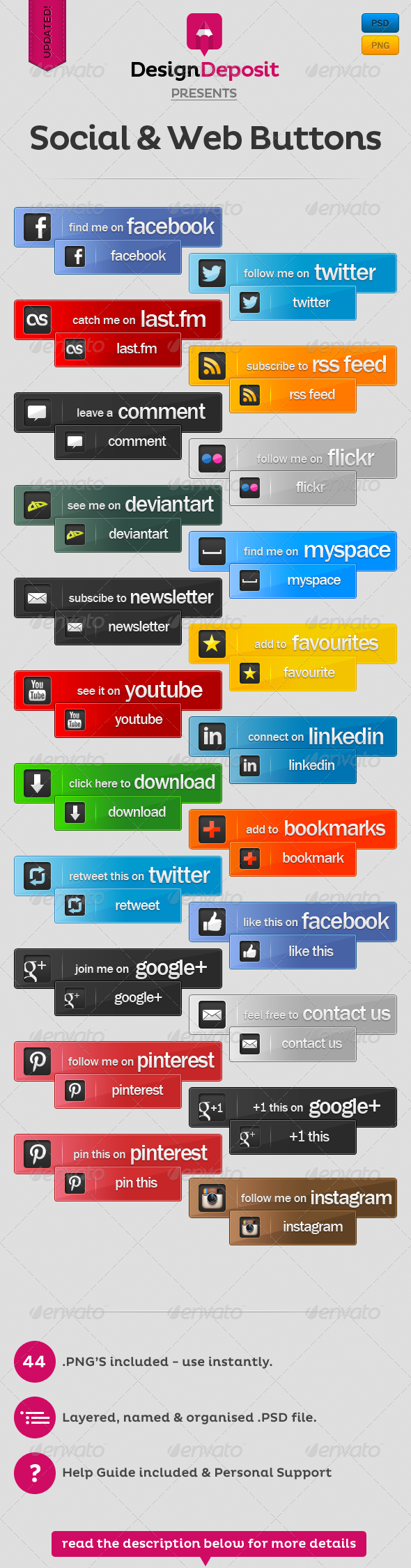 Social and Web Buttons Pack - Buttons Web Elements