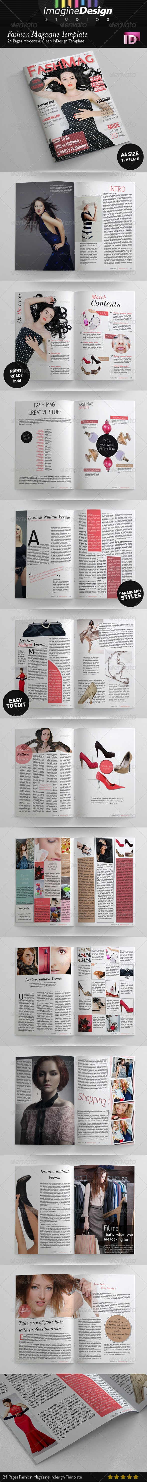 24 Pages Fashion Magazine Template - Magazines Print Templates