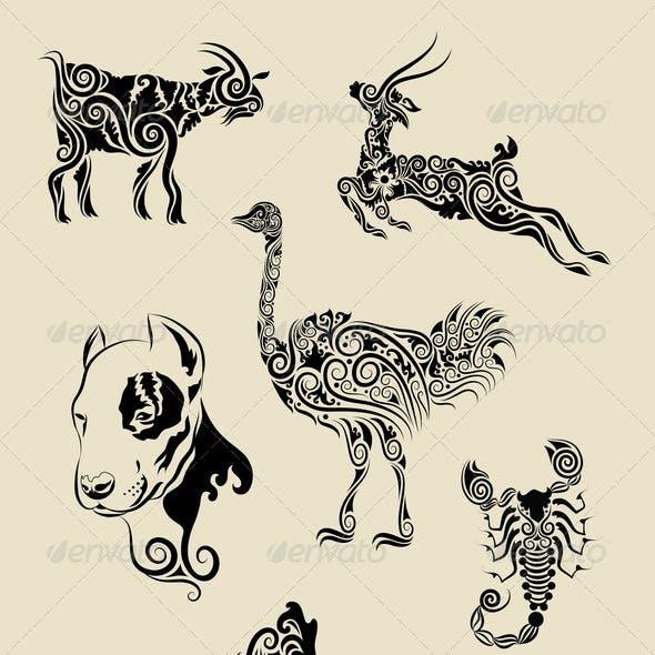Animals Ornament Symbol Set