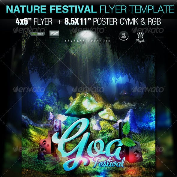 "Nature Festival Flyer Template ""Goa trance"""