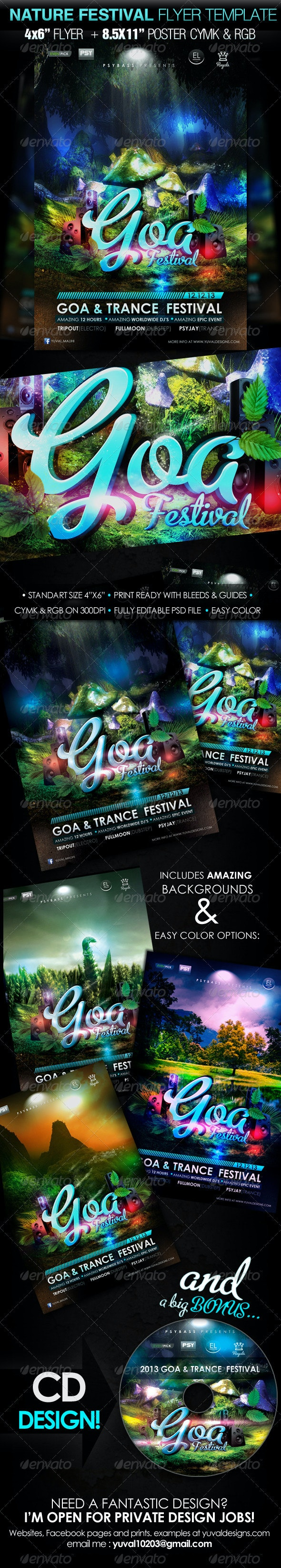 "Nature Festival Flyer Template ""Goa trance"" - Clubs & Parties Events"