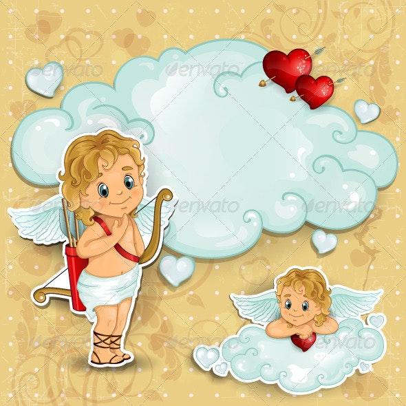 Cupid on clouds  - Valentines Seasons/Holidays