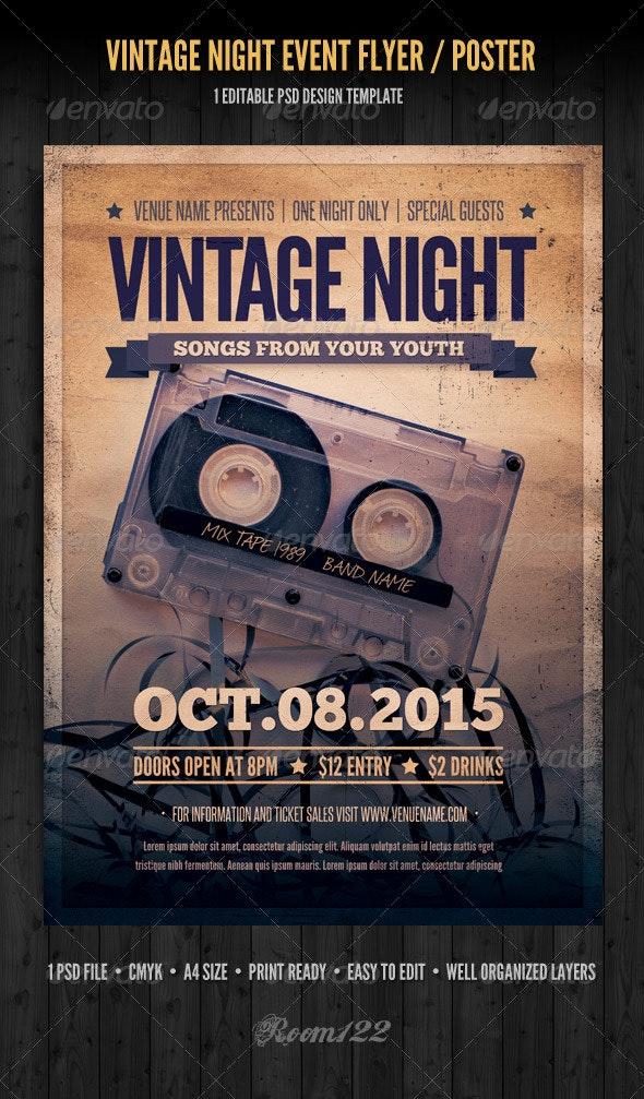 Vintage Night Event Flyer / Poster - Concerts Events